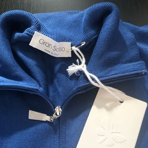 SOLD on another app: Gran Sasso blue 1/2 zip knit